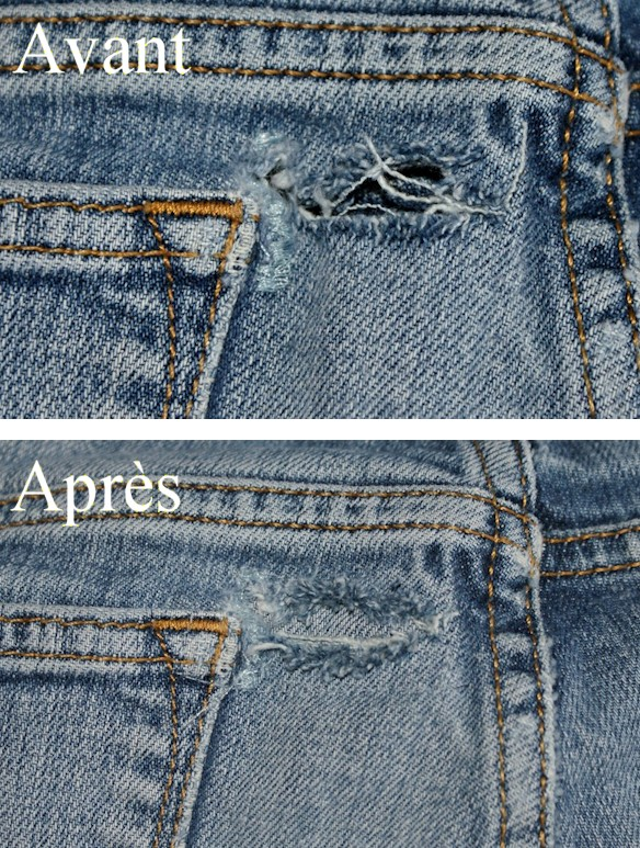 photo comment coudre un jeans troue