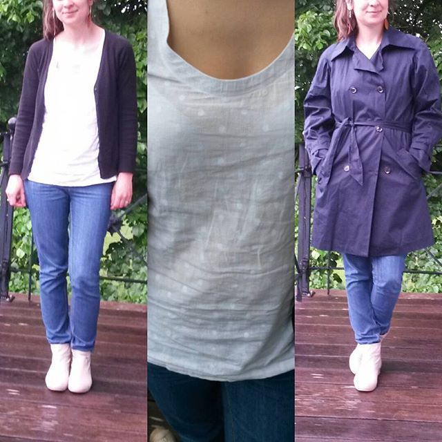 Me Made May 2016, jeans burda, débardeur Dressing Chic et trench coat burda