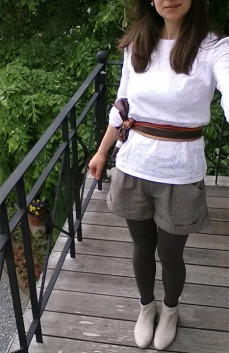 Me Made May 2016, short châtaigne et blouse en broderie anglaise Dressing Chic