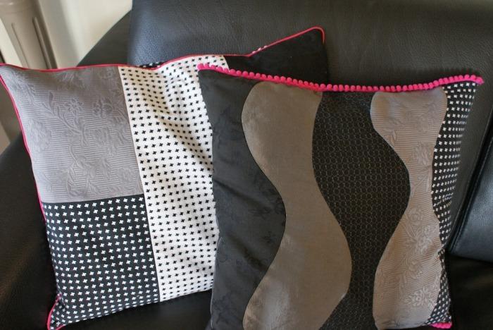 Housses de coussin patchwork par Laissons Lucie Faire (tuto gratuit)