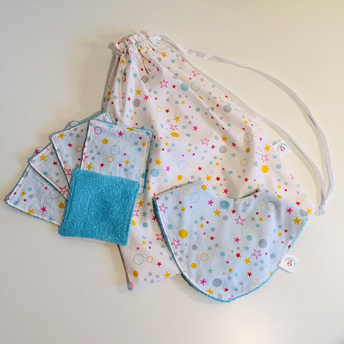 Pack de naissance Ptits Bricos, lingettes lavables, tote bag et bavoir bandana