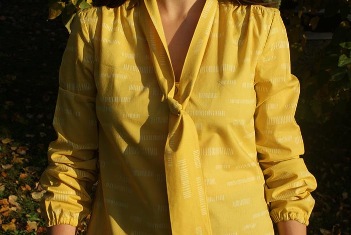 Chemise cravate 70's Dressing Chic en batiste de coton Dash Lime Atelier Brunette, par Laissons Lucie Faire
